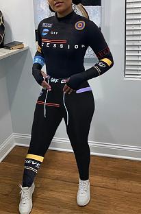 Lässige sportliche Letter Langarm T-Shirt Top lange Hosen Sets LY5895