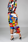 控えめなセクシーな漫画のグラフィック長袖中空アウトロングドレスフェイスマスクなしOMM1179