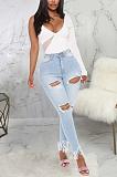 Lässige sexy elastische Taille Quaste Saum zerrissene hohe Taille Jeans SMR2348