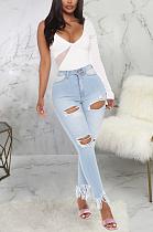 Casual Sexy Elastic Waist Tassel Hem Ripped High Waist Jeans SMR2348