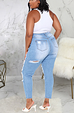 Casual Modest Large Size Distressed Ripped Jeans SMR2332