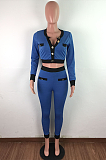 Casual Sexy Long Sleeve Round Neck Spliced Crop Top Long Pants Sets LA3232