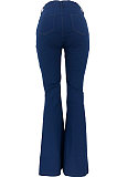 Modest Polyester Colorblock Contrast Panel Flare Leg Pants HG080