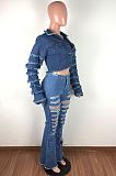 Casual Blazer Distressed Ripped Flare Leg Jeans LA3226