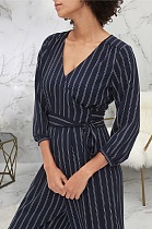 Casual Sexy Striped Long Sleeve V Neck Waist Tie Casual Jumpsuit SMR9764