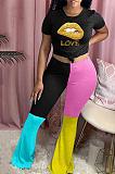Casual bescheiden elastische taille Contrastpaneel Hoge taille lange broek sets