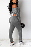 Sexy Long Sleeve Off Shoulder Knotted Strap Long Pants Sets DR8061