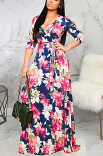 Casual Sexy Floral Half Sleeve Deep V Neck Long Dress SMR9974