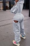 Blazer Sporty Long Sleeve Halterneck Spliced Hoodie Long Pants Sets LY5893