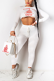 Casual Letter Long Sleeve Tee Top Long Pants Sets DR8060