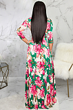 Casual Sexy Floral Half Sleeve Deep V Neck Long Dress SMR9974