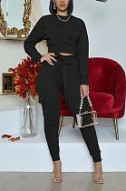 Modest Long Sleeve Waist Tie Babydoll Blouse Long Pants Sets No Bag WY6716