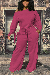 Casual Cotton Blend Long Sleeve Sleeve Knot Waist Tie Overall Jumpsuit WY6728