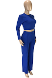 Casual Long Sleeve Round Neck Spliced Long Pants Sets SM9120