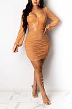 Sexy Long Sleeve Lantern Sleeve Ruffle A Line Dress TRS1079