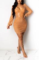 فستان مثير بأكمام طويلة وكشكشة وأكمام طويلة TRS1079
