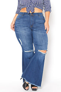 Casual Modest Large Size Elastic Waist Ripped Flare Leg Jeans SMR2344