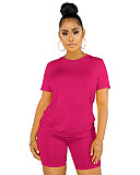 Damen Sommer Rundhalsausschnitt Solid Color Casual Sets FMM02
