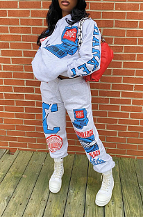 Casual Sporty Polyester Cartoon Graphic Long Sleeve Waist Tie Hoodie Sets LD9049