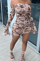 Fashion Square Neck Off Shoulder Lotus Sleeve Ruffle Printing Dress LBA1001