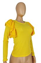Casual Polyester Long Sleeve Round Neck Flounce Tee Top E8531