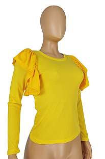 Casual Polyester Long Sleeve Round Neck Flounce Tee Top E8531