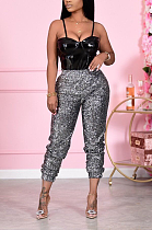 Casual Polyester Sequins Mid Waist Long Pants LD9050