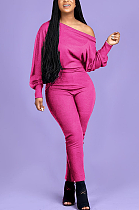 Casual Sexy Pure Color Long Sleeve Off Shoulder Casual Jumpsuit OMY8083-1
