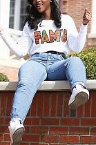 Повседневная футболка с длинными рукавами и круглым вырезом с надписью Simplee MDF5176