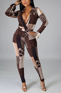 Night Out Sexy Geometric Graphic Long Sleeve Deep V Neck Spliced Sets GL6309