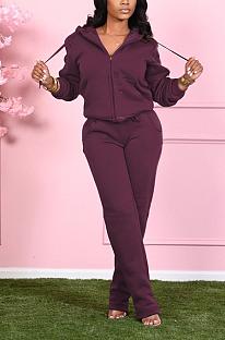 Casual Long Sleeve Waist Tie Hoodie Long Pants Fluffing Sets SN390004