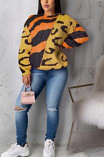 Повседневная милая блузка с длинным рукавом с леопардовым принтом и круглым вырезом ML7387
