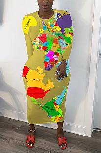 Lässiges, einfaches Langarm-Kleid mit rundem Hals und langem Ausschnitt YFS3601