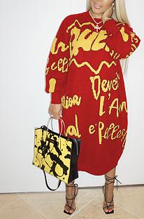 Lässiger Brief Langarm Laterne Ärmel Langes Kleid AL136