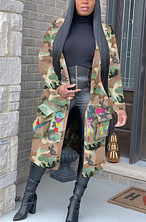 Casual Polyester Letter Camo Long Sleeve Longline Top SN390015