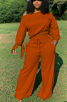 Casual Cute Long Sleeve Off Shoulder Sleeve Knot Tee Top Long Pants Sets R6342
