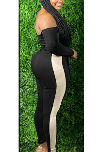 Casual sexy polyester lange mouw koude schouder gespleten bodycon jumpsuit SN390013