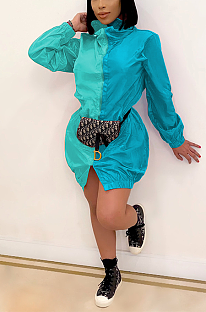 Casual Simplee Long Sleeve Spliced Midi Dress