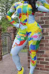 Casual polyester tie-dye bodycon-jumpsuit met lange mouwen en hoge hals SN390009