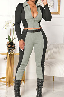 Fahiong Casual  Long Sleeve Zipper Spliced Sets Containing Belt ML7381