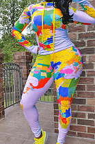Casual Tie Dye Long Sleeve High Neck Bodycon Jumpsuit SN390005
