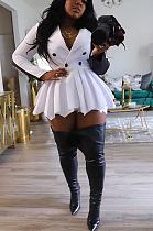 فستان قصير أنيق غير رسمي بأكمام طويلة وياقة طية صدر السترة وحزام KZ182