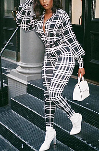Casual Modest Gingham Lapel Neck Puff Sleeve Casual Jumpsuit KZ176