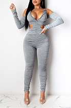 Casual Polyester Long Sleeve Off Shoulder Bodycon Jumpsuit KA7136