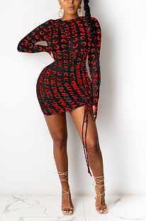 Sexy Long Sleeve Round Neck Self Belted Mini Dress KA7133