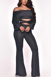 Modest Basics Long Sleeve Off Shoulder Crop Top Flare Leg Pants Sets MY9774