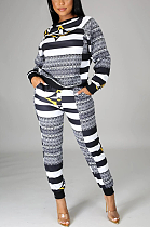 Casual Sporty Striped Long Sleeve Round Neck Long Pants Sets KZ185