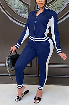 Casual Sporty Spliced Utility Blouse Long Pants Sets QZ4319