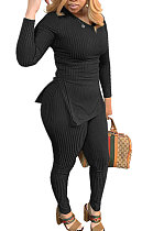 Black Knitwear Long Sleeve V Neck Sets Fashion Casual Sexy Two-Piece QY5018