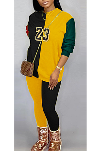 Casual Night Out Letter Spliced Tee Top Long Pants Sets K2059